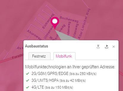 LTE/4G-Versorgung nach offiziellen Angaben von T-Mobile.