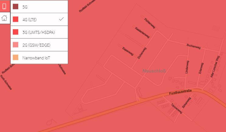 LTE/4G-Versorgung nach offiziellen Angaben von Vodafone.
